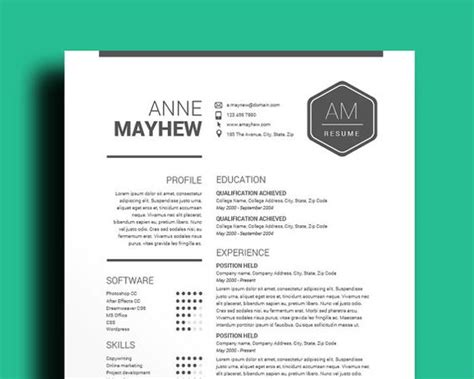 Free Editable Resume Templates For Word by Resume Template Cv Template Mac Pc Professional Cv Black White Digital