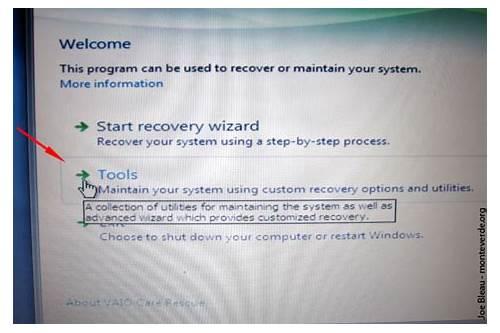 vaio care rescue mode windows 10 download