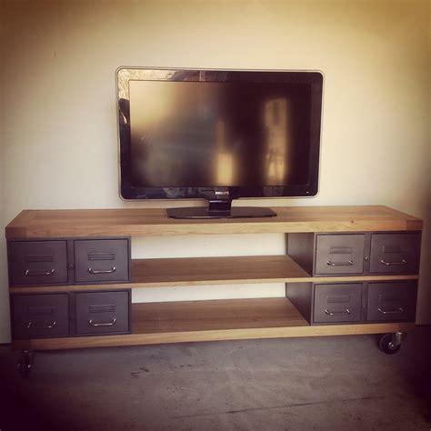 meuble tv style industriel avec ancien tiroirs et plateaux
