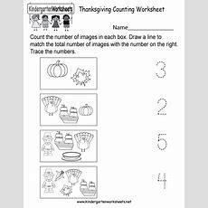 Thanksgiving Counting Worksheet  Free Kindergarten Holiday Worksheet For Kids