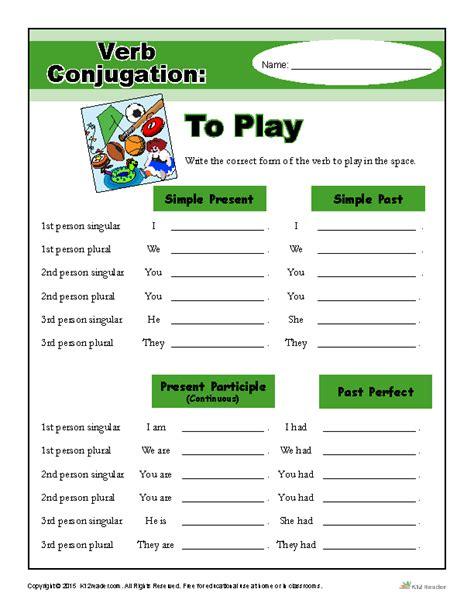 verb conjugation worksheet to play