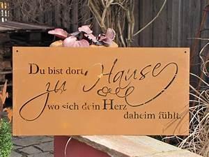 Sprüche Auf Holz : edelrost gedichttafel heimat die spruchtafel ist ein hingucker in jedem garten und zieht gerade ~ Orissabook.com Haus und Dekorationen