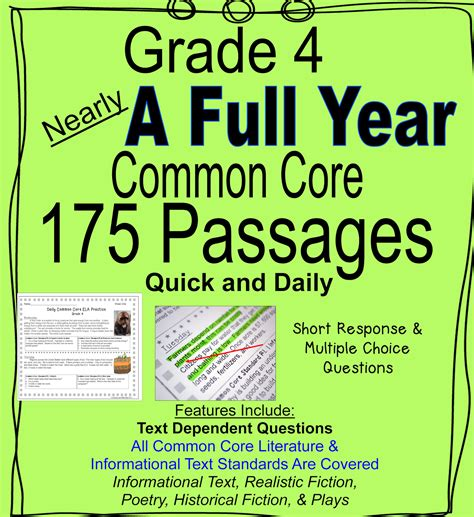 Literacy & Math Ideas Nearly A Full Year Of Daily Common Core Grade 4 Reading Practice