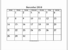 November 2010 Calendar with Jewish holidays