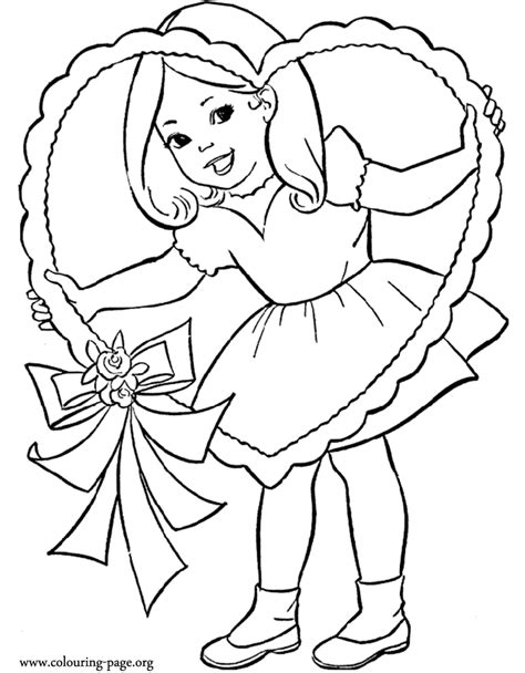 valentines day  girl   valentines day heart coloring page
