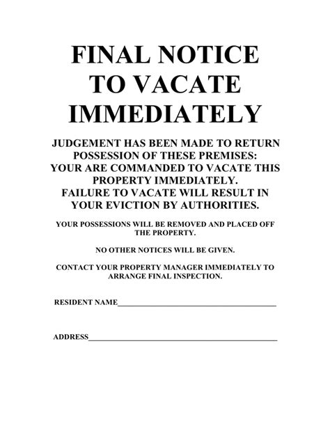 sample 30 day notice to vacate final notice to vacate immediately template in word and