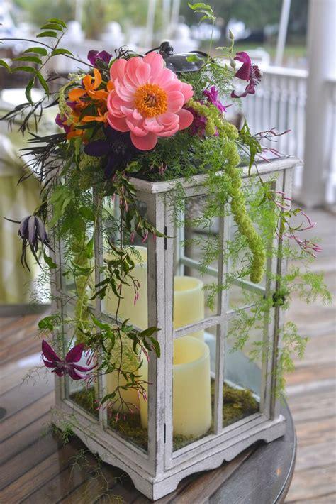 Lantern Centerpiece With Fresh Flower Accents