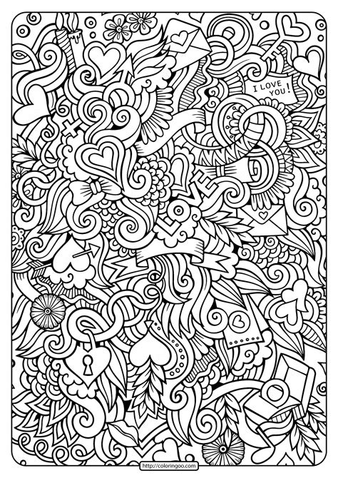 printable love doodle  coloring page