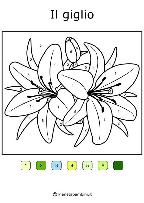 i fiori semplici conta e colora da stare disegni da colorare in base ai