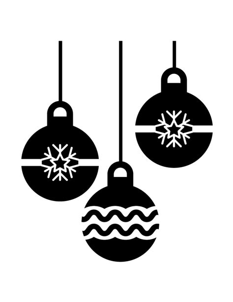 holiday ornaments silhouette   coloring pages