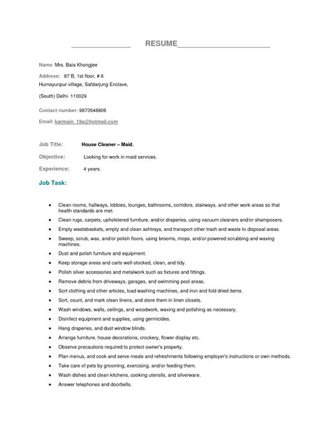 housekeeping cover letter sle ideas sle cover