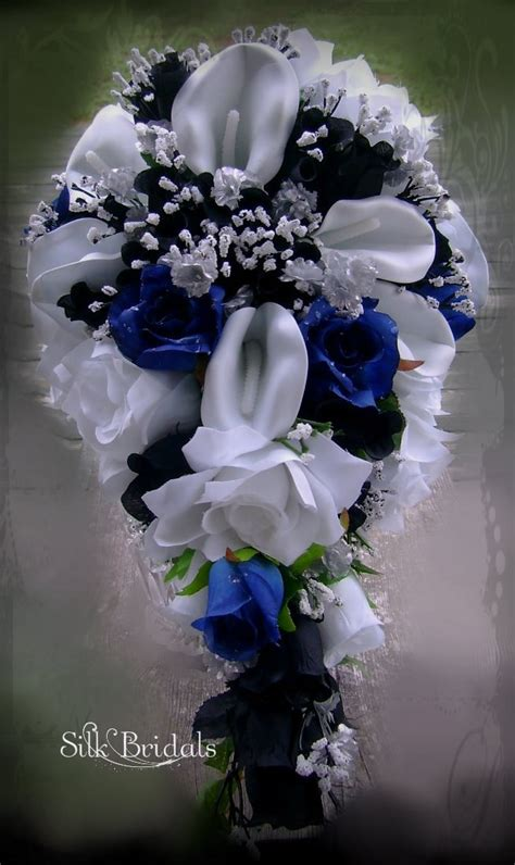Royal Blue Black And White Bridal Bouquet Silk Wedding Flowers
