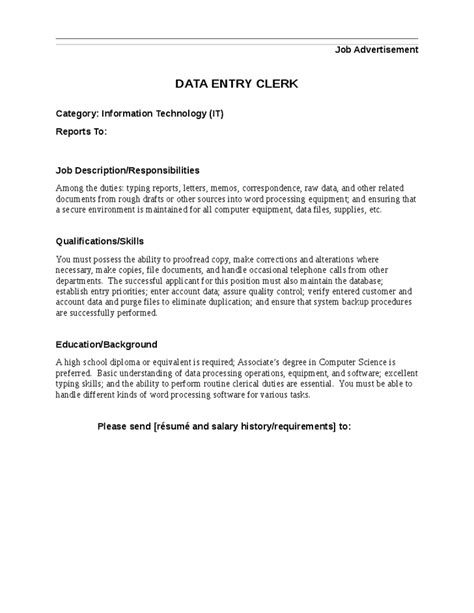 Data Entry Clerk Qualifications data entry description for resume resume ideas