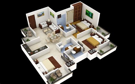 3 Bhk Home Design : 3 Bedroom House Plans 3d Design 4