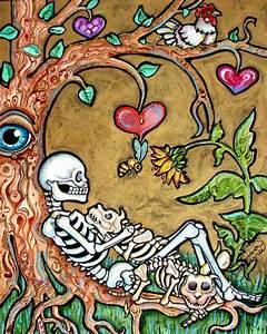 Lisa Luree art Original Day of the Dead DOG skeleton 2 ...