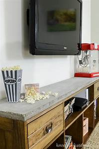 rustic tv stand with concrete top tv decor diy