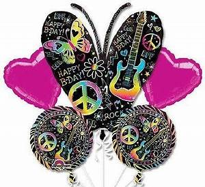 Music Neon Butterfly Happy Birthday Balloon Bouquet
