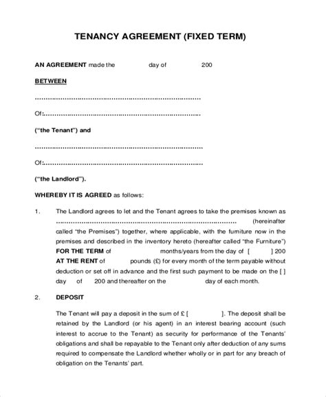 Landlord Tenant Contract Template by 8 Sle Tenant Agreement Forms Sle Exle Format