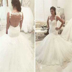 Mermaid spaghetti straps lace open back mermaid wedding for Tulle bottom wedding dress