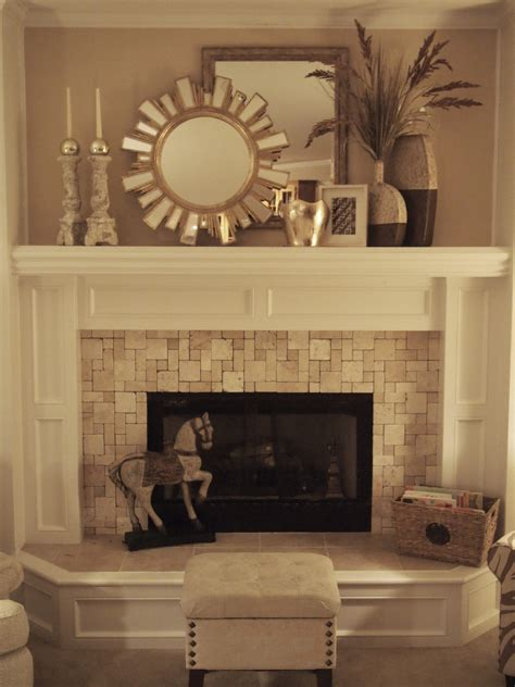 tiled fireplace for the home