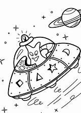 Coloring Ufo Pages Alien Printable Space Spacecraft 4kids Aliens Drawing Ufos Cute Drawings sketch template