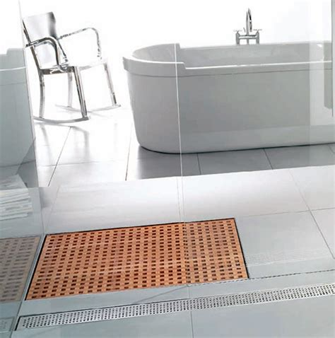 square bathroom sink wooden shower grate drains by aco