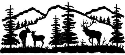 bull   baby elk silhouette  mural  wall