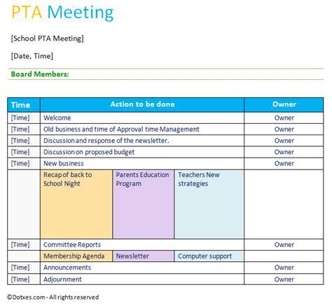 professional pta meeting agenda template agenda