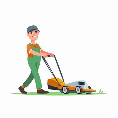 Lawn Vector Care Mowing Cartoon Landscape Gardener