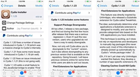 cydia  brings support  package downgrades