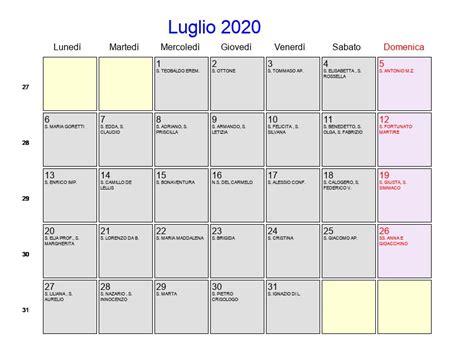 calendario luglio festivita fasi lunari