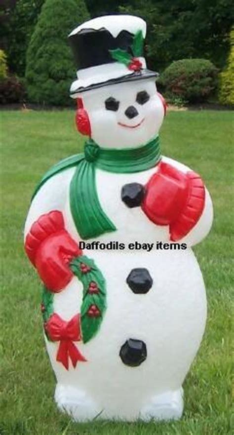 large snowman w wreath light up outdoor plastic christmas