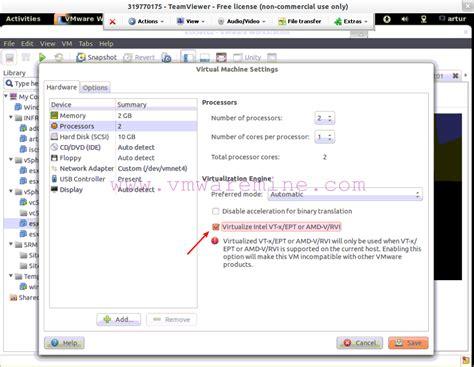 enable hardware virtualization  vmware workstation