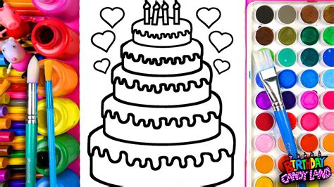 learn coloring  kids  color  layer birthday cake