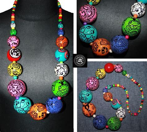 grosses perles en bois collier sautoir g 233 ant grosses perles multicolores en bois