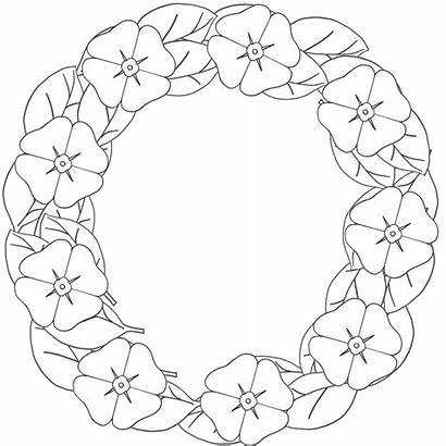 Poppy Remembrance Coloring Pages Template Wreath Poppies