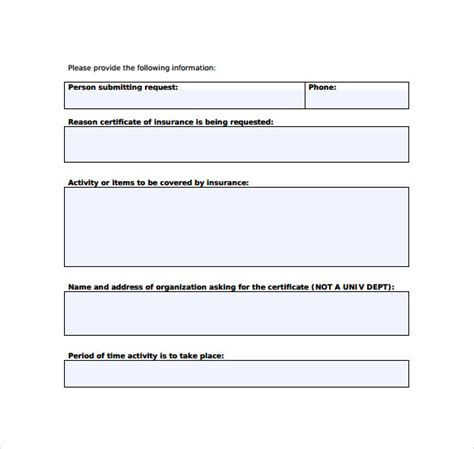 certificate  insurance template