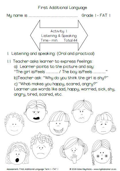 grade 1 assessment english first additional language term 1 task 2017 187 my klaskamer deur