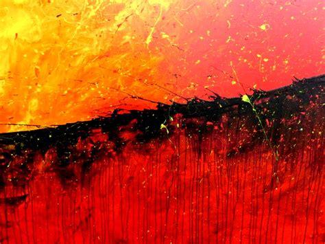 Abstraktes Acrylbild Modernes Gemälde In Rot Orange Und