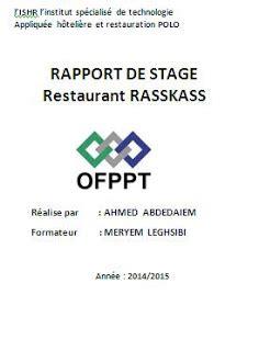 rapport de stage cuisine exemple de rapport de stage en cuisine gratuit rapport