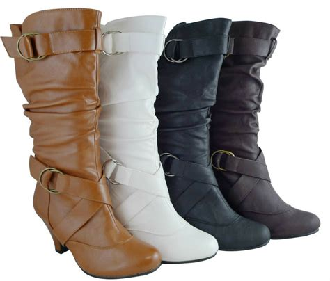Women Boots Mid Calf Fashion Kitten High Heels Style Shoes