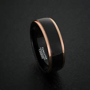 black gold mens wedding rings tungsten wedding bands 8mm mens ring two tone black polished with gold step edge comfort