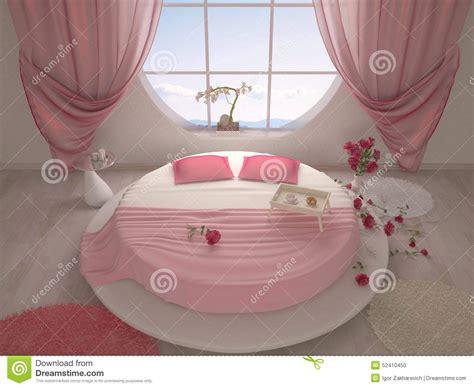 chambre à coucher avec un lit rond illustration stock