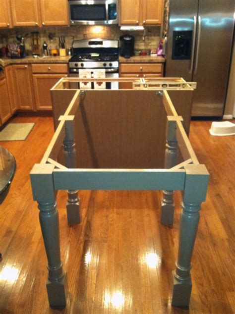Kitchen Island Supported by Island Posts & Custom Skirt