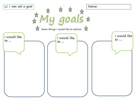 my goals worksheet by sarahunderwood teaching resources