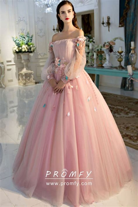 Beautiful 3d Flowers Baby Pink Tulle Off The Shoulder Long