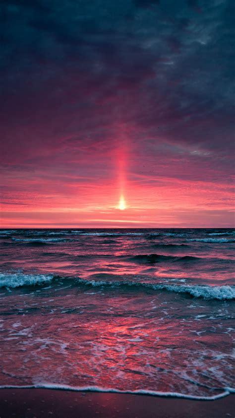 wallpaper sunset ocean beach  nature