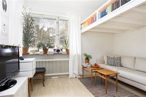 Interior Design For Bedroom Ceiling by Small Swedish Studio Apartment Elegantly Combines Loft Bed
