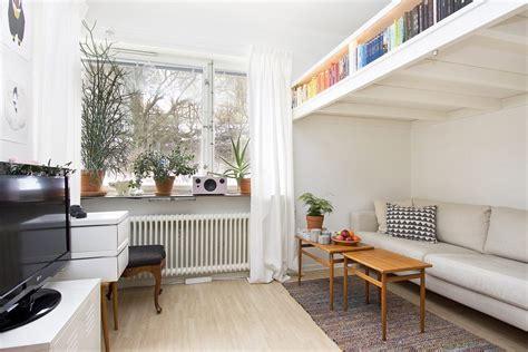 Bedroom Loft Ideas by Small Swedish Studio Apartment Elegantly Combines Loft Bed