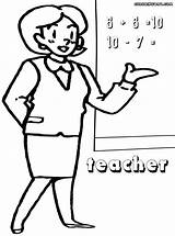 Teacher Coloring Pages Sheet Blackboard Colorings Lady sketch template